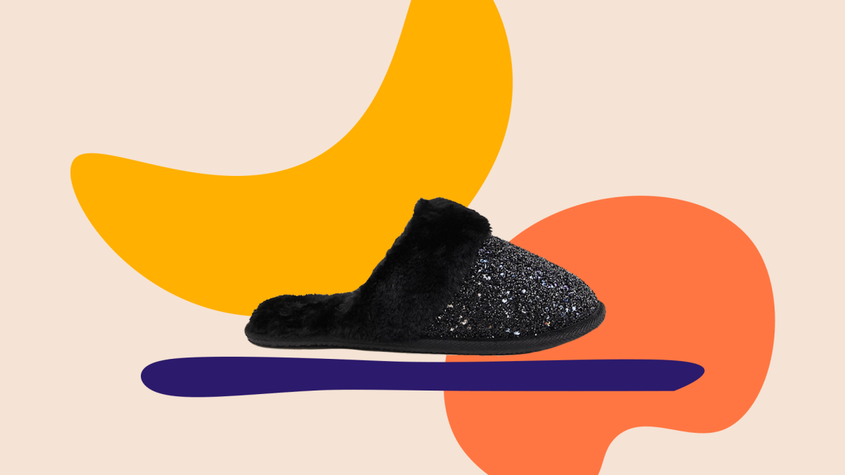 Wide-fit black glittery slipper.