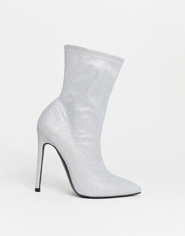 Wide-fit sock boots in silver glitter.