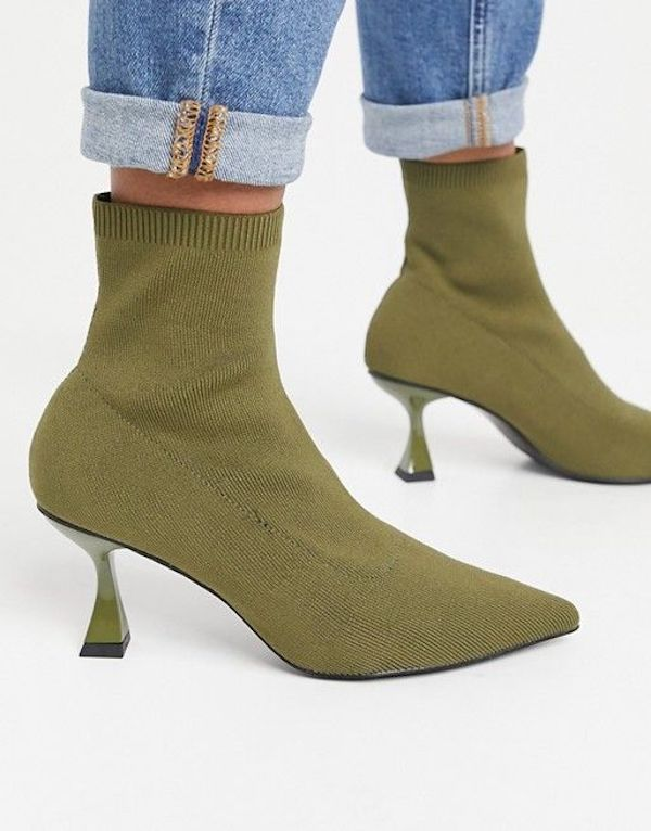 Wide-fit sock boots in olive green.
