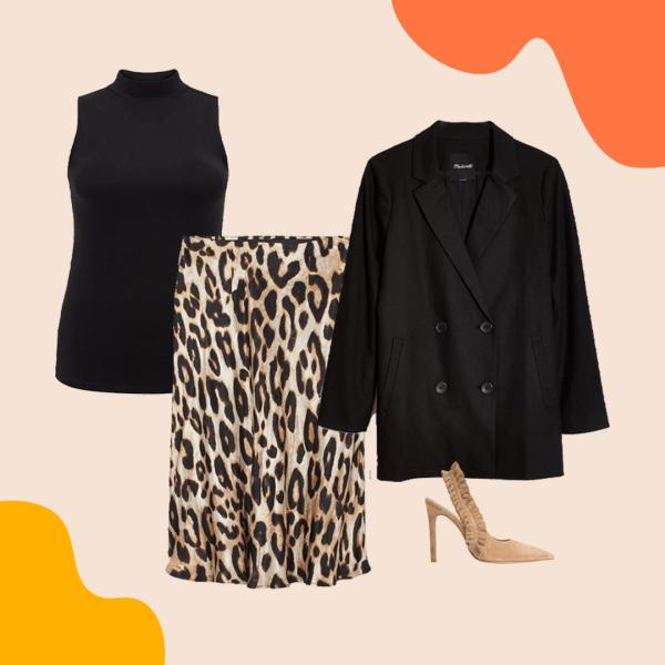 A sleeveless black turtleneck, leopard print skirt, black blazer, and tan heels.