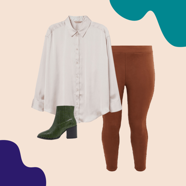 A satin shirt, brown faux suede leggings, green booties.