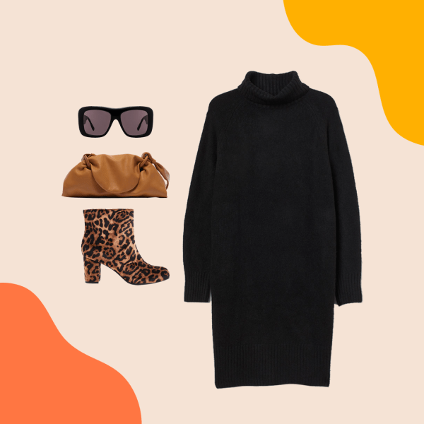 A black sweater dress, leopard print booties, brown clutch, and black sunglasses.