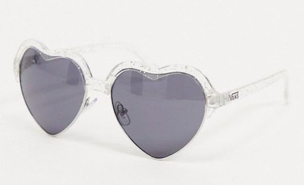A pair of heart-shaped sunglasses in clear.