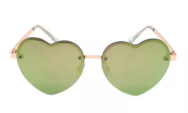 A pair of heart-shaped sunglasses in green.
