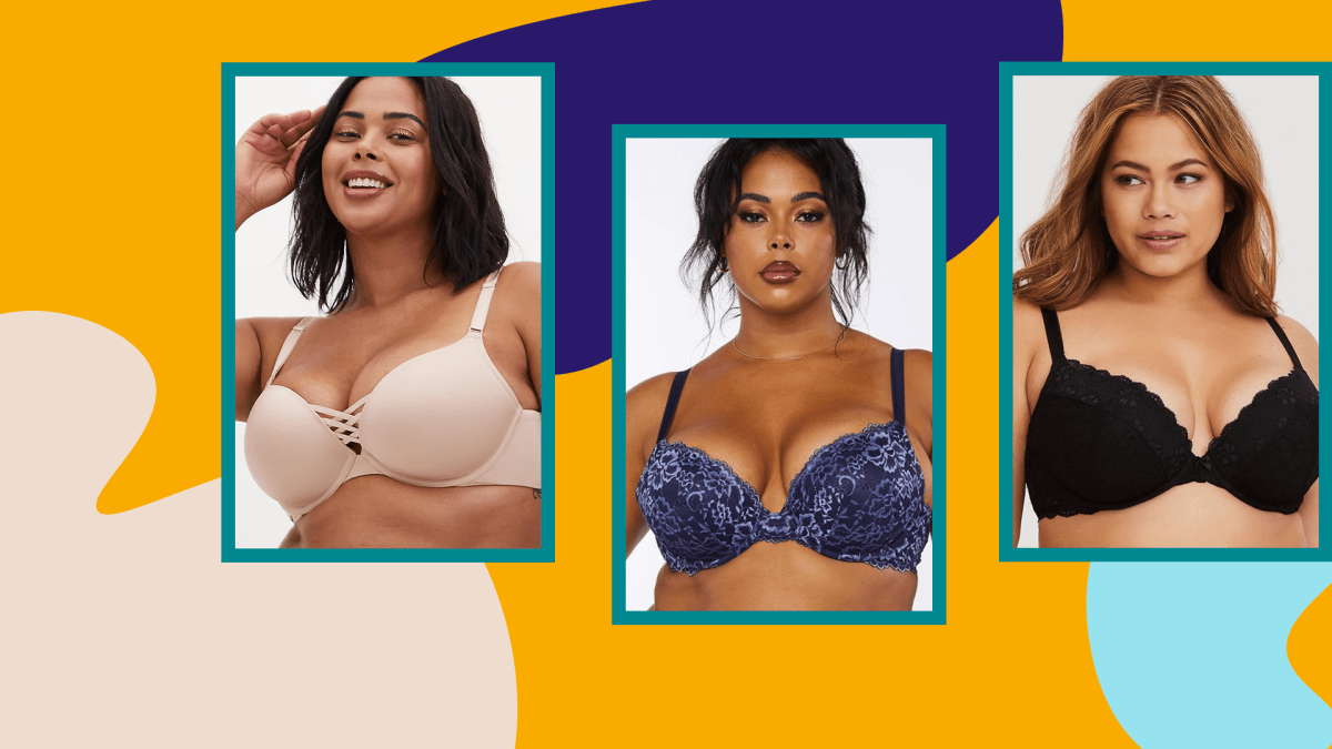 Three models wearing plus-size push-up bras.