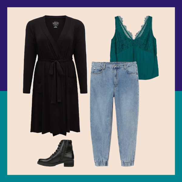 A black robe, black booties, jeans, and teal tank.