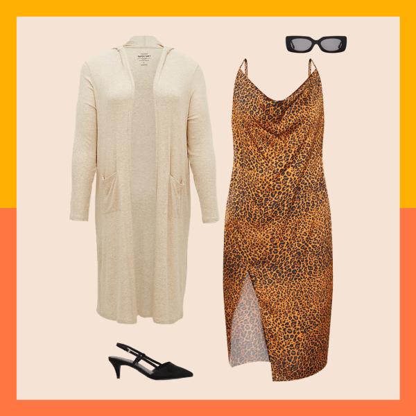 A cream robe, black heels, leopard print dress, and black sunglasses.
