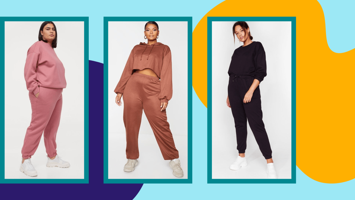A model wearing a plus-size pink sweatsuit, a model wearing a brown plus-size sweatsuit, and a model wearing a plus-size black sweatsuit.