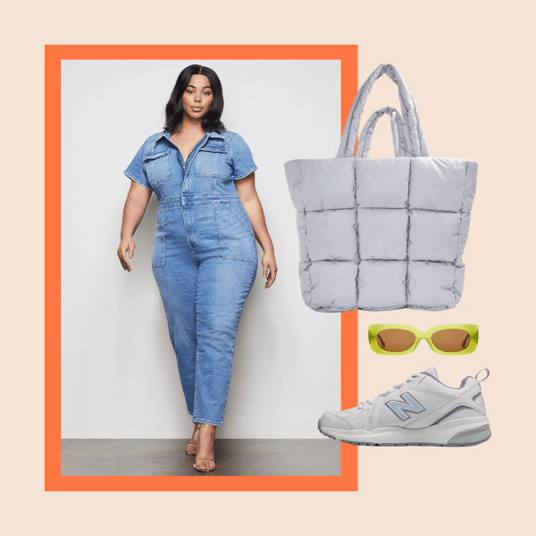 A model wearing a denim plus-size utility jumpsuit, sneakers, green sunglasses, and a silver tote bag.