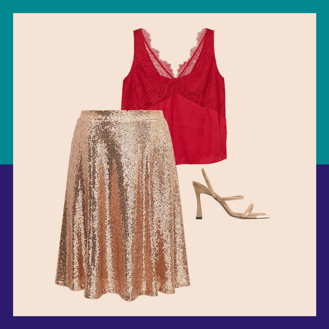 A sparkly gold skirt and red camisole with tan heels.