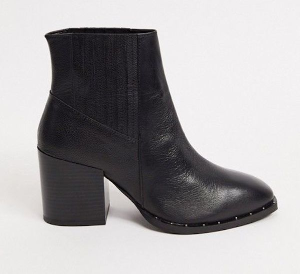 A pair of wide-fit block heeled boots in black.