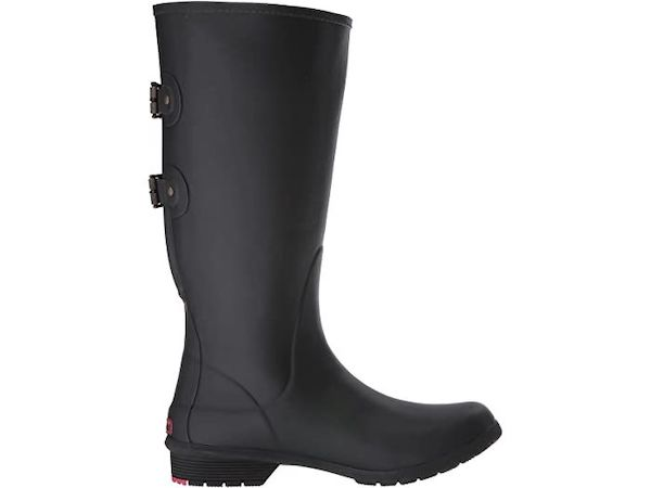 Wide-calf rain boots in black.