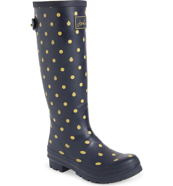 Wide-calf rain boots in blue and yellow polka dot.