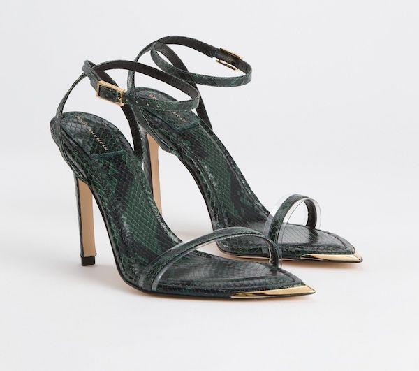 Wide-fit heeled sandals in dark green.