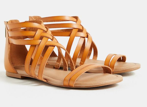 Wide-fit gladiator sandals in brown.