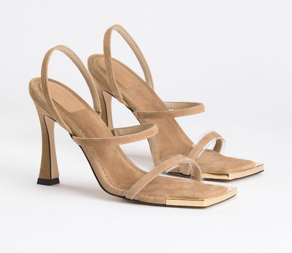Wide-fit heeled sandals in tan.
