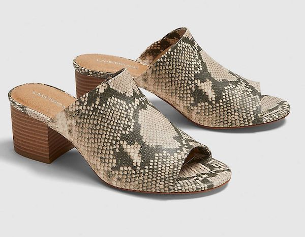 Wide-fit heeled sandals in snake print.