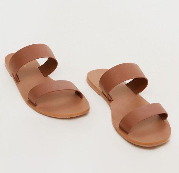 Wide-fit slide sandals in brown.