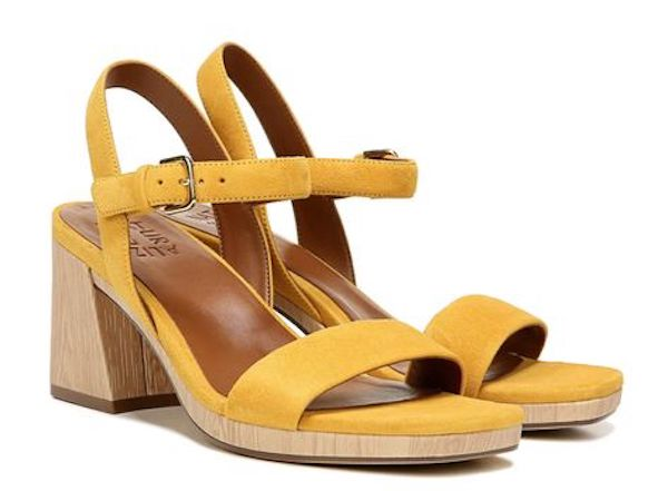 Wide-fit heeled sandals in yellow.