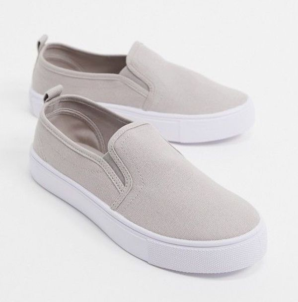 Wide-fit slip-on sneakers in taupe.