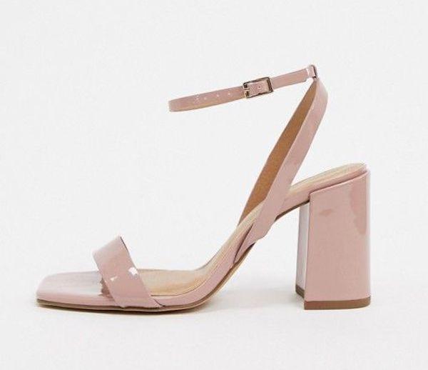 Wide-fit light pink heels.
