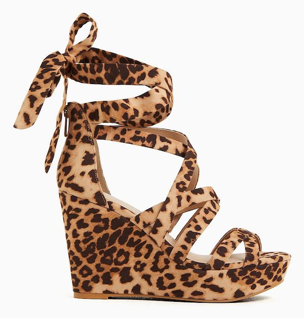 A pair of wide-fit wedges in leopard print.