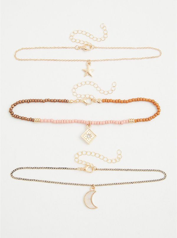 A set of three plus-size anklets.