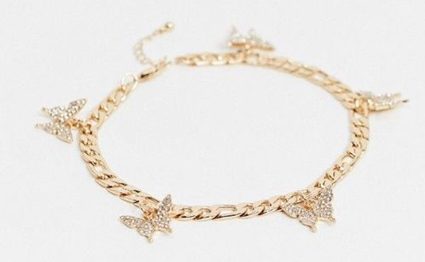 A plus-size anklet with butterflies.