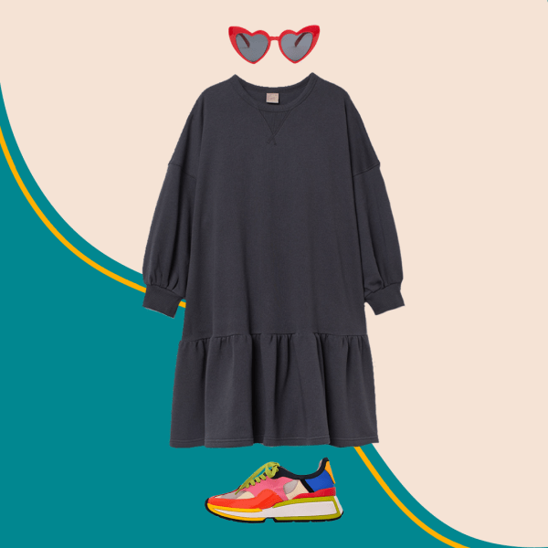 A plus-size sweatshirt dress, red heart-shaped sunglasses, and colorful sneakers.