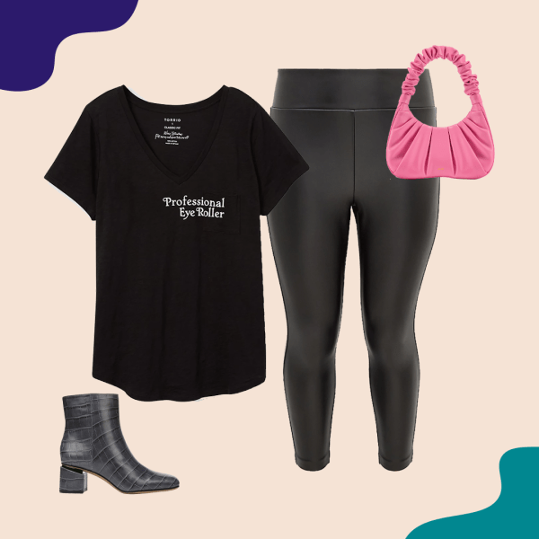 A black t-shirt, leather pants, pink purse, and booties.