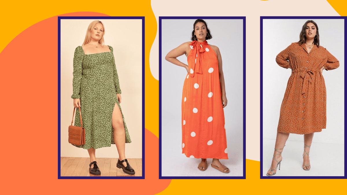 Three models wearing plus-size polka dot dresses.