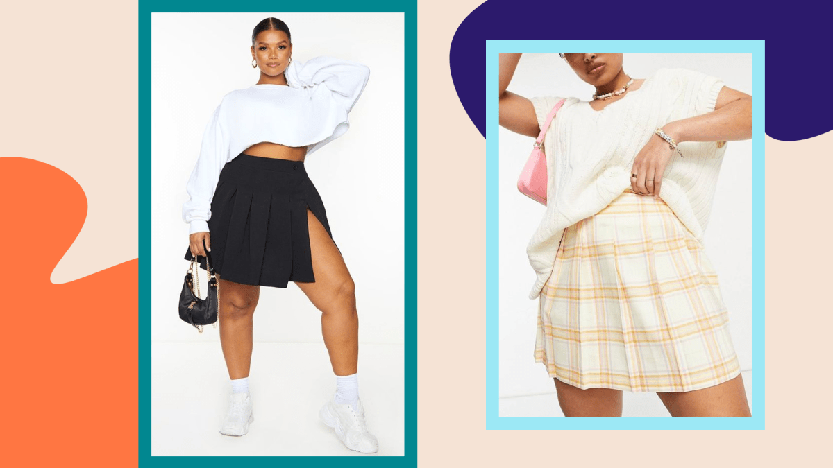 Two models wearing plus-size tennis skirts.