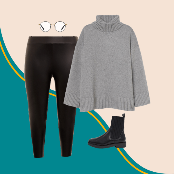 A collage with a gray sweater, black boots, black pants, and glasses.