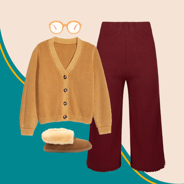A collage with a mustard sweater, slippers, red pants, and glasses.