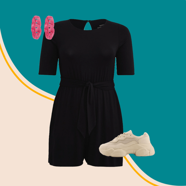 A collage with a black romper, pink earrings, and sneakers.