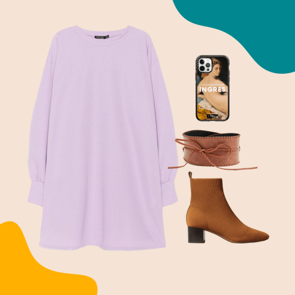 A collage with a purple dress, phone case, brown belt, and brown booties.