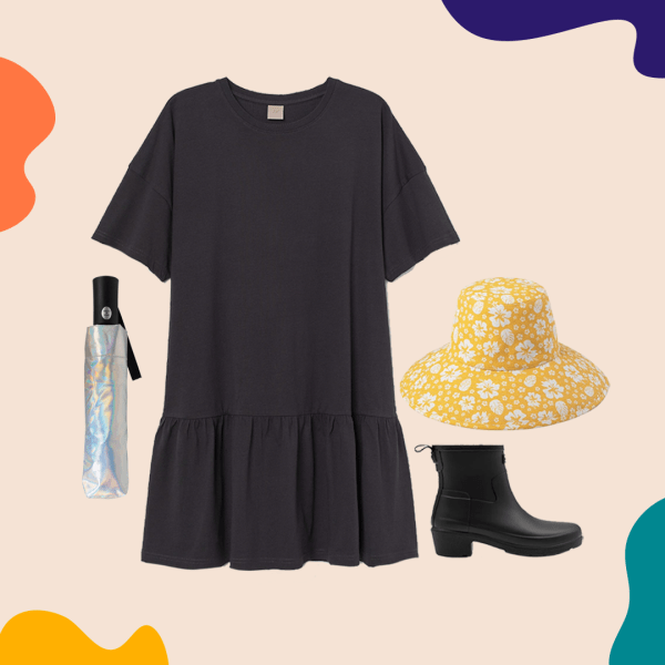 A collage with a black t-shirt dress, yellow bucket hat, rain boots, and an umbrella.