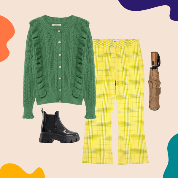 A collage with a green cardigan, yellow pants, rain boots, and an umbrella.