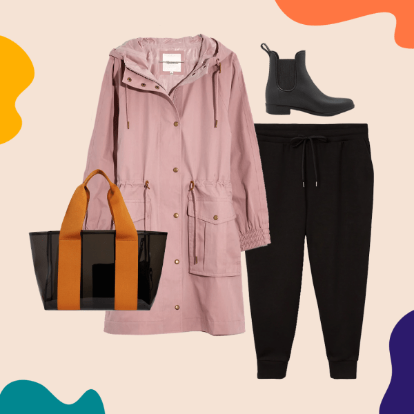 A collage with a pink rain coat, black sweatpants, rain boots, and a nylon bag.