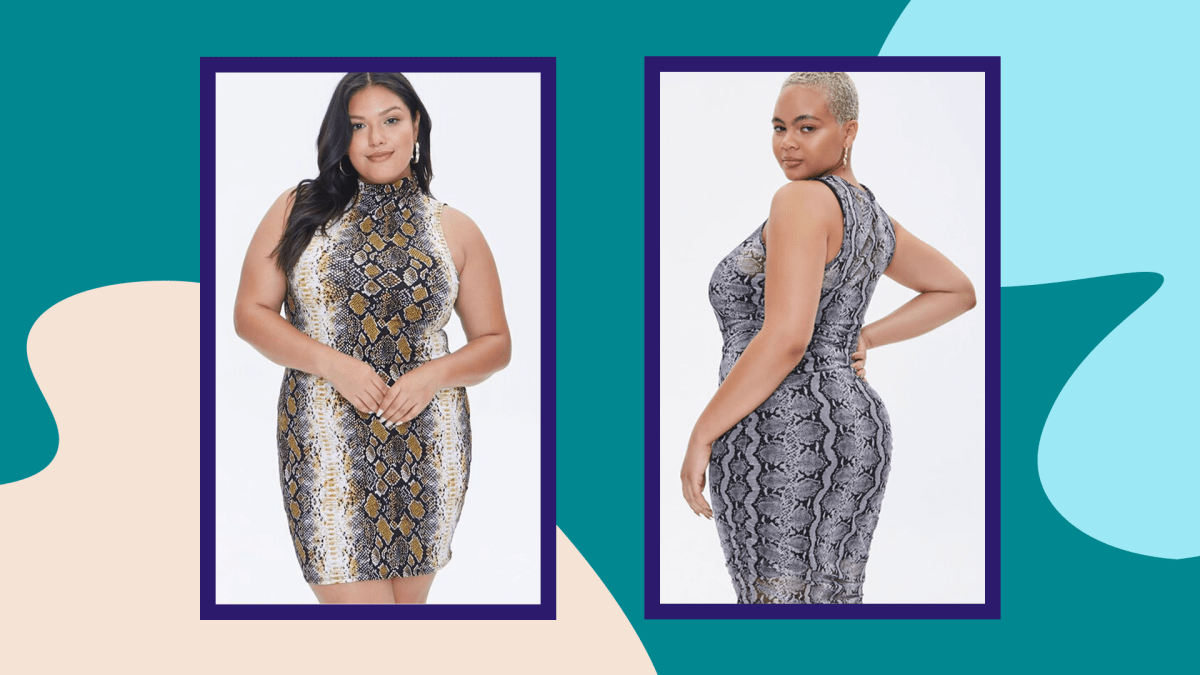 Two models wearing plus-size snake print dresses from Forever 21.