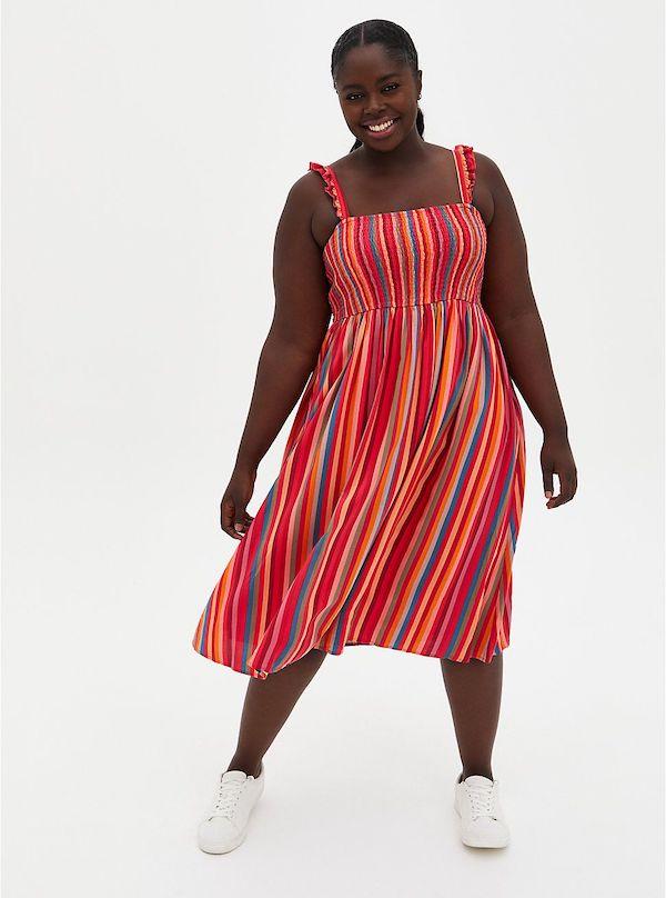 A model wearing a plus-size beach dress.