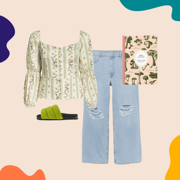 A collage with a green floral top, jeans, green slide sandals, and a mushroom-adorned notebook.