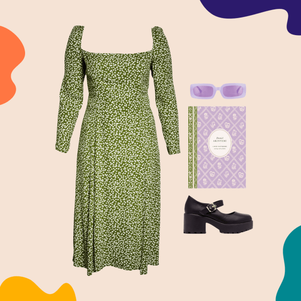 A collage with a green floral dress, black heels, purple sunglasses, and a purple notebook.