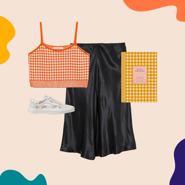 A collage with an orange sweater tank top, black skirt, sneakers, and a yellow gingham notebook.