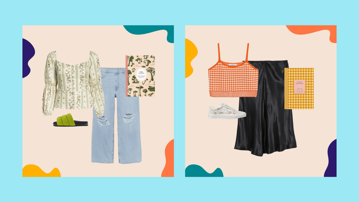 A collage with a green floral top, jeans, green slide sandals, and a mushroom-adorned notebook and a collage with an orange sweater tank top, black skirt, sneakers, and a yellow gingham notebook.
