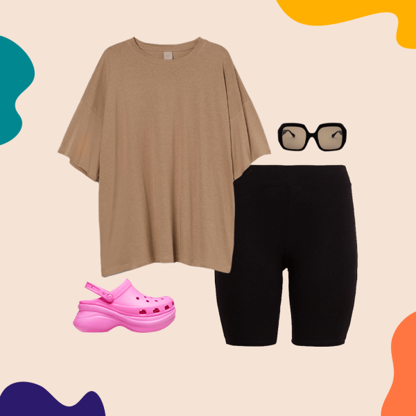 A collage with bike shorts, a brown T-shirt, pink Croc clogs, and black sunglasses.