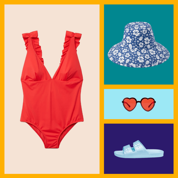 A red swimsuit, bucket hat, heart-shaped sunglasses, and blue slide sandals.