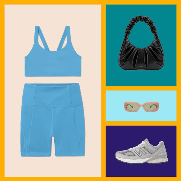 A blue sports bra, blue bike shorts, black purse, sunglasses, and gray sneakers.