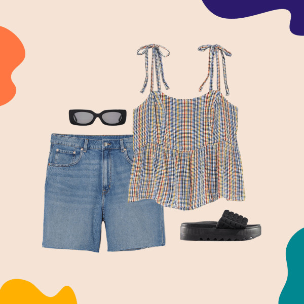 A collage with denim shorts, a rainbow tank top, black sandals, and black sunglasses.