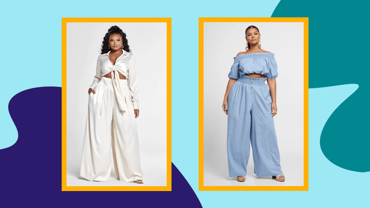 Two models wearing plus-size palazzo pants from Fashion to Figure.